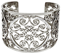 Stainless Steel Medallion Cut-out Crystal Cuff - J322299