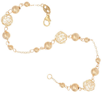 "EternaGold 7-1/2"" Open Work Bead Bracelet 14K Gold, 2.3g - J322999"