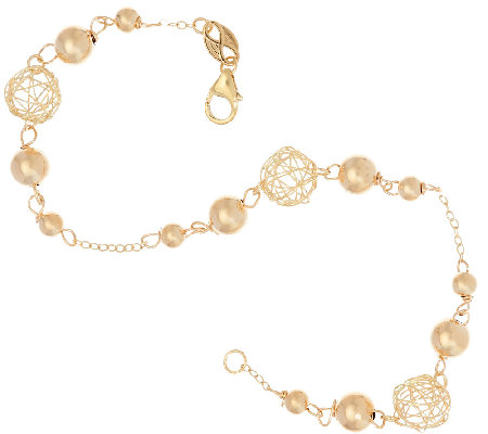 "EternaGold 7-1/2"" Open Work Bead Bracelet 14K Gold, 2.3g"