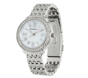 Isaac Mizrahi Live! Round Pave Stainless Steel Bracelet Watch - J323399