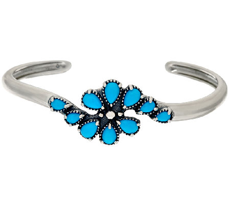 Sleeping Beauty Turquoise Sterling Silver Cluster Cuff by American West