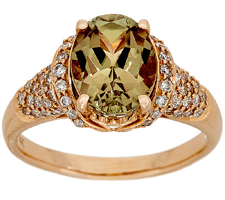 3.00 ct Csarite & 1/2 cttw Diamond Ring 14K Gold