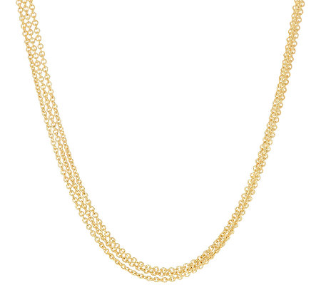 "Judith Ripka Sterling & 14K Clad 18"" Multi Strand Toggle Necklace"
