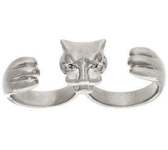 Bronzo Italia Polished Double Finger Panther Ring - J325799