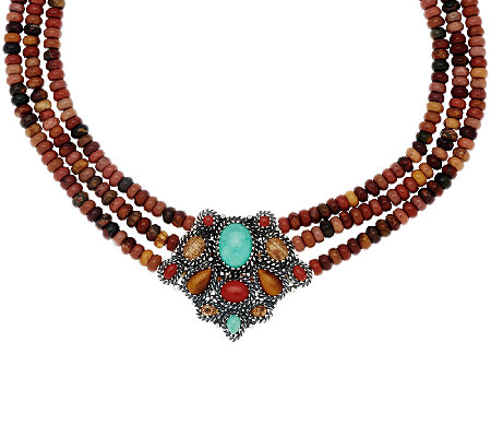 Multi-Gemstone Sterling Silver Statement Necklace by American West