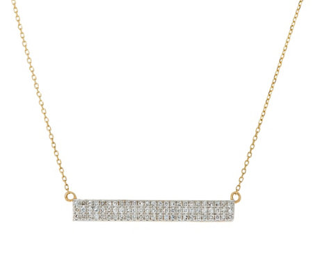 Pave' Diamond Bar Necklace, 14K Gold, 1/5 cttw, by Affinity