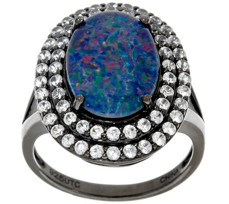"""As Is""Graziela Gems Australian Opal Triplet & White Zircon Sterling Ring"