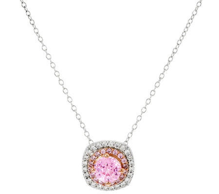 Diamonique 100-Facet Pink Halo Pendant w/ Chain, Sterling