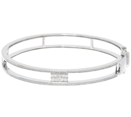 Baguette Diamond Bangle, Sterling, 1/3 cttw, by Affinity