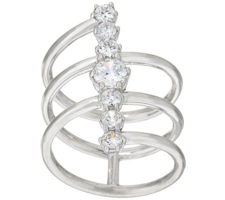 """As Is"" Vicenza Silver Diamonique Linear Design Ring"
