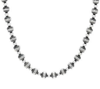 "Sterling Silver Stamped Bead 17"" Necklace by American West - J330499"