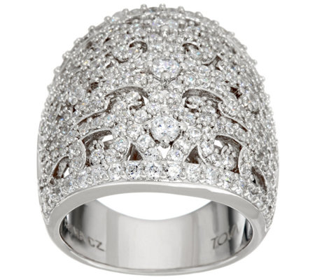 TOVA Diamonique Lace Design Band Ring, Sterling