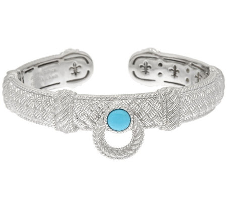 """As Is"" Judith Ripka Sterling Door Knocker Turquoise Cuff Bracelet"