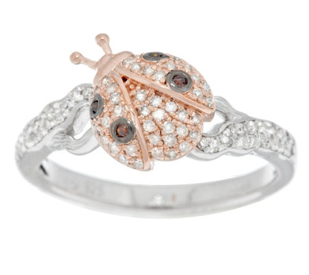 """As Is"" Lucky Ladybug Diamond Ring Sterling 1/4 cttw by Affinity"