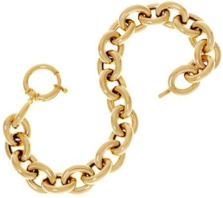 "14K Gold 8"" Polished Oval Rolo Link Bracelet, 12.8g"