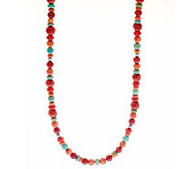 "American West 32"" Multi-color Sterling Silver Bead Necklace - J335899"