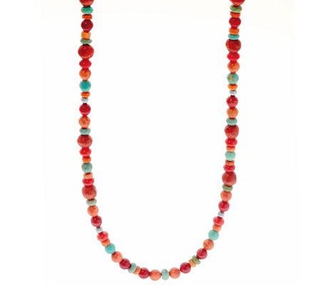 "American West 32"" Multi-color Sterling Silver Bead Necklace"