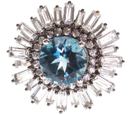 Graziela Gems Round London Blue & White Topaz Ring, Sterling