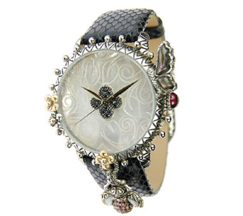 Barbara Bixby Stainless & 18K Gemstone LeatherGarden Watch - J337699