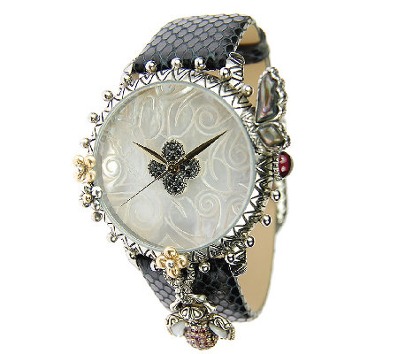Barbara Bixby Stainless & 18K Gemstone LeatherGarden Watch