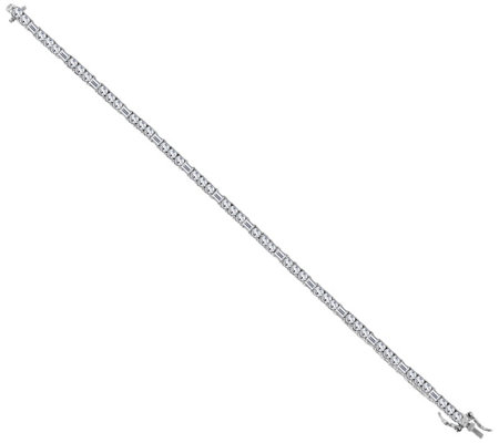 Diamonique Round and Baguette Tennis Bracelet, Platinum Clad