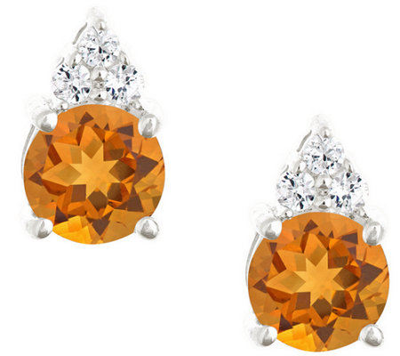Premier 1.10cttw Round Citrine & Diamond Earrings, 14K