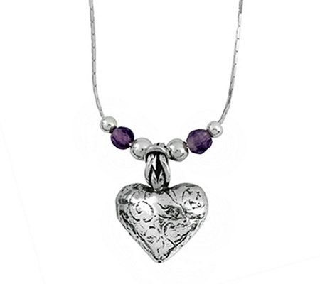 Sterling Gemstone & Textured Heart Pendant w/ Chain by Or Paz