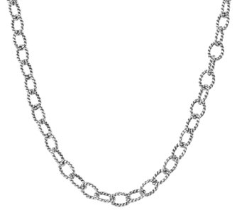 "Carolyn Pollack Sterling 32"" Twisted Rope ChainNecklace 21.7g - J338999"