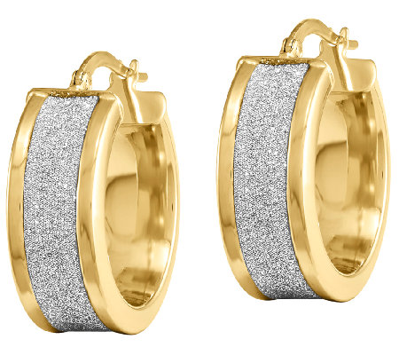 Fancy Glitter-Infused Hoop Earrings, 14K Gold