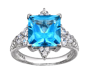 Judith Ripka Sterling Blue Topaz & Diamonique R ing - J340099