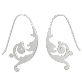 Novica Artisan Crafted Sterling Flower Earrings - J341199