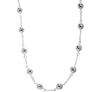 "UltraFine Silver 24"" Polished Bead Station Necklace - J341399"