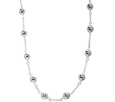 "UltraFine Silver 24"" Polished Bead Station Necklace"