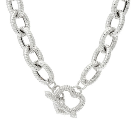 "Judith Ripka 18"" Sterling Verona Heart Clasp Necklace, 112g"