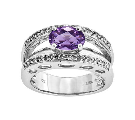 Sterling 0.95 ct Amethyst & 1/7 cttw Diamond Open Work Ring
