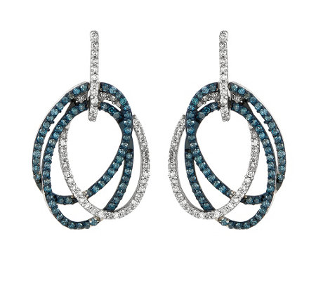 Sterling 1/2 cttw Blue & White Diamond Oval Earrings