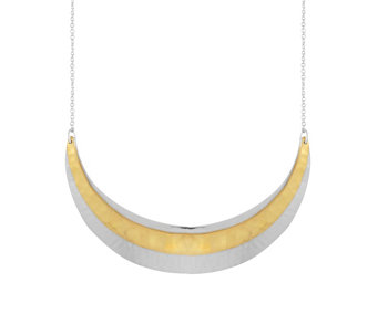 Sterling Two-Tone Hammered Crescent Necklace by Silver Style - J342699