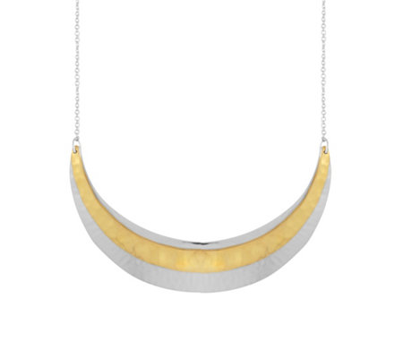 Sterling Two-Tone Hammered Crescent Necklace by Silver Style
