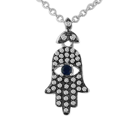 Luv Tia Sterling Gemstone Hamsa Pendant with Chain