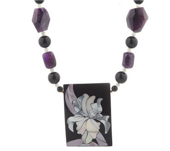 "Lee Sands Amethyst Floral Inlay 20"" Necklace - J342899"