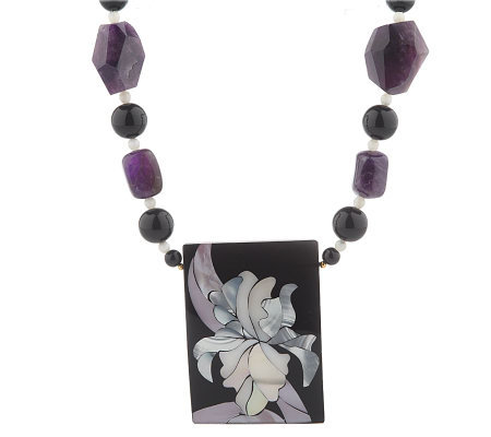 "Lee Sands Amethyst Floral Inlay 20"" Necklace"