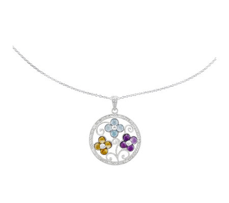 "Sterling Multi-Gemstone Flower Pendant with 18""Necklace"