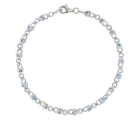"Sterling Pear-Shaped Aquamarine 7"" Bracelet"