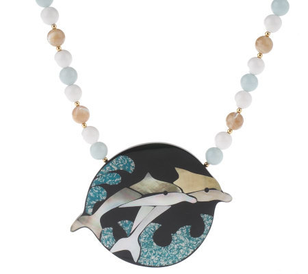 Lee Sands Dolphin Shell Inlay Necklace