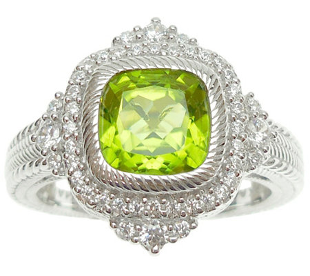 Judith Ripka Sterling Diamonique and Cushion Cut Peridot Ring
