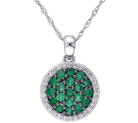 0.75 cttw Emerald & 1/7 cttw Diamond Pendant w/Chain, 14K