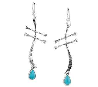 American West Wanesia Dragonfly Turquoise Earrings - J344599