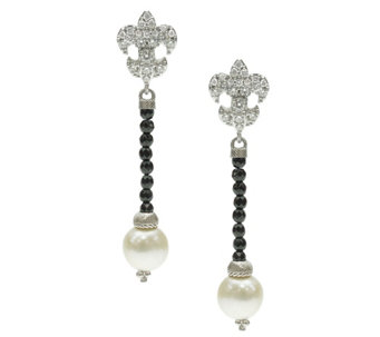 Judith Ripka Sterling Fleur de Lis Drop Earrings - J344899