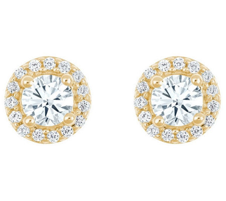 Round Diamond Halo Earrings, 14K Yellow, 3/4 cttw, by Affinity