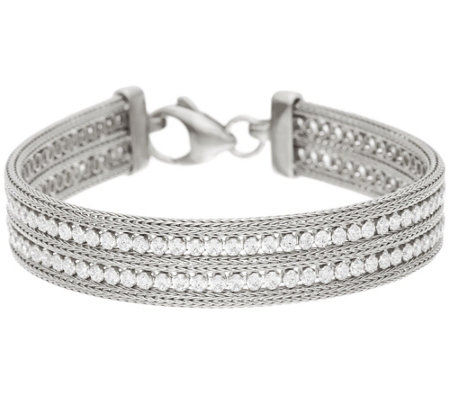 """As Is"" Italian Silver 8"" Double Row Crystal Mesh Bracelet, 17.0g"